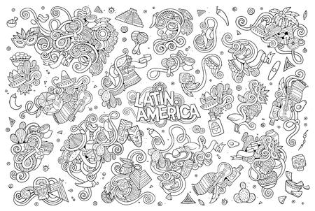 Schetsmatig vector hand getrokken Doodle cartoon set van objecten en symbolen op de Latijns-Amerikaanse thema Vector Illustratie