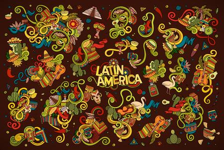 라틴 아메리카 테마의 개체 및 기호 벡터 손으로 그린 낙서 만화 세트