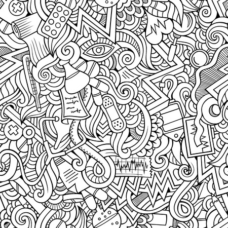pattern background: Cartoon hand-drawn doodles on the subject of medical theme seamless pattern. Line art sketchy detailed, with lots of objects vector background