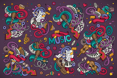 retro music: Colorful vector hand drawn Doodle cartoon set of objects and symbols on the music theme