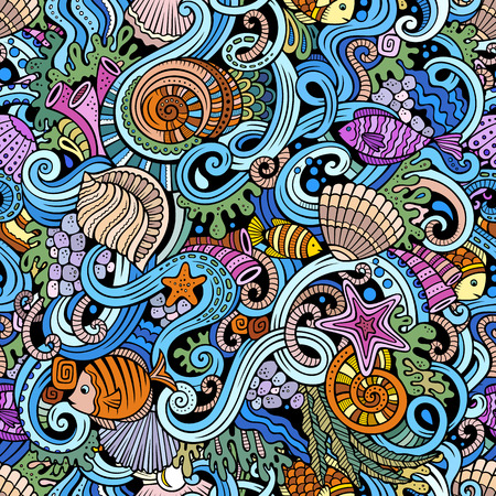 flora  vector: Cartoon hand-drawn doodles on the subject of under water life theme seamless pattern. Colorful detailed, with lots of objects vector background