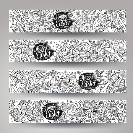 season greetings: Cartoon vector hand-drawn Doodle on the subject of Easter. Horizontal banners design templates set