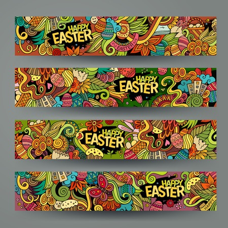 food basket: Cartoon vector hand-drawn Doodle on the subject of Easter. Horizontal banners design templates set