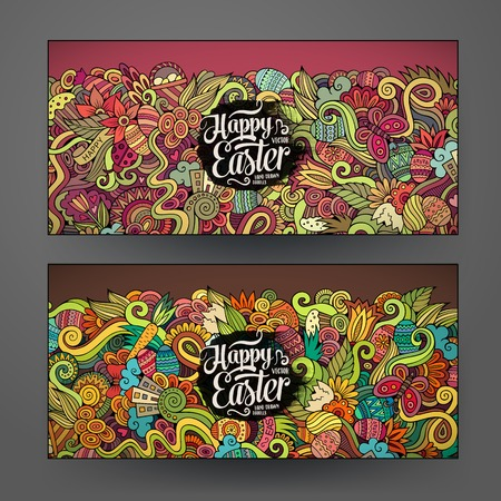Cartoon vector hand-drawn Doodle Happy Easter cards. Horisontal banners design templates set