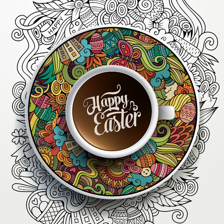 tea cup: Vector illustration with a Cup of coffee and hand drawn Easter doodles on a saucer and background