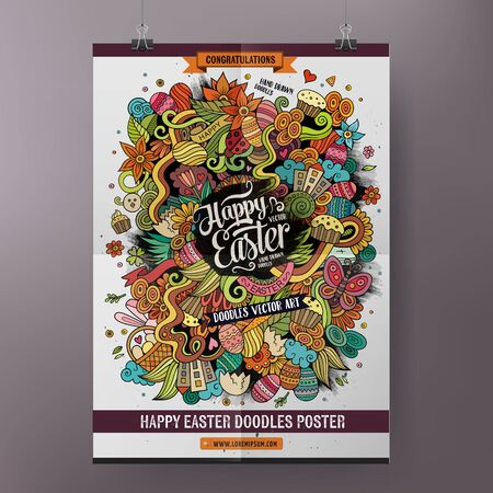 cartoon easter: Doodles cartoon colorful Happy Easter hand drawn illustration. Vector template poster design