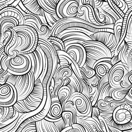 ビンテージ ライン アート抽象的な装飾的な性質の装飾的なシームレス パターン