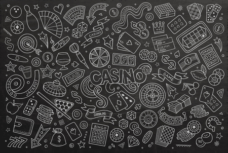 king of hearts: Chalkboard vector hand drawn doodles cartoon set of Casino objects and symbols