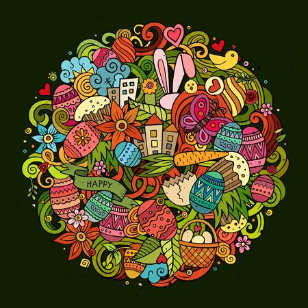 butterfly flower: Cartoon vector hand drawn Doodle Happy Easter illustration. Colorful round detailed design background with objects and symbols. All objects are separated Illustration