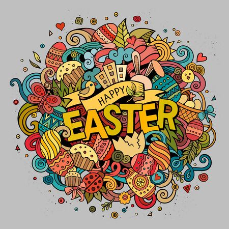 design objects: Cartoon vector hand drawn Doodle Happy Easter illustration. Colorful detailed design background with objects and symbols. All objects are separated