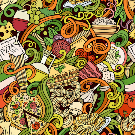 cheese cartoon: Cartoon hand-drawn doodles on the subject of Italian cuisine theme seamless pattern. Colorful detailed, with lots of objects vector background