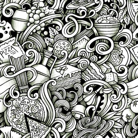 garabatos dibujados a mano de dibujos animados sobre el tema de patrón transparente tema de la cocina italiana. traza dibujos detallados, con una gran cantidad de objetos de fondo vector Ilustración de vector