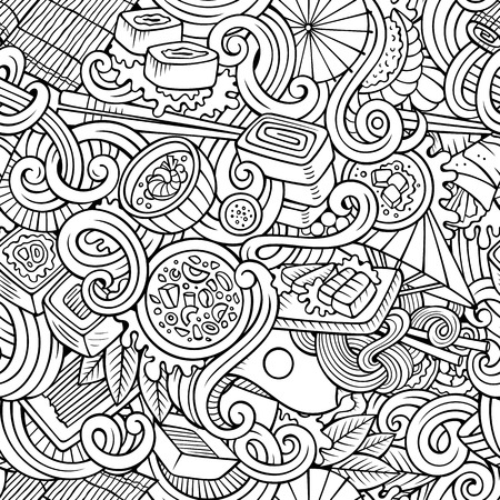 noodles soup: Cartoon hand-drawn doodles on the subject of japanese cuisine theme seamless pattern. Line art detailed, with lots of objects vector background