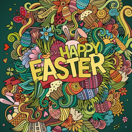Cartoon hand-drawn doodles Happy Easter background. Colorful detailed, with lots of objects vector card design