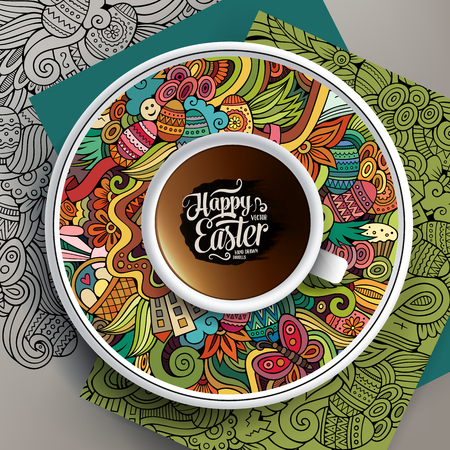 tea basket: Vector illustration with a Cup of coffee and hand drawn Easter doodles on a saucer and background