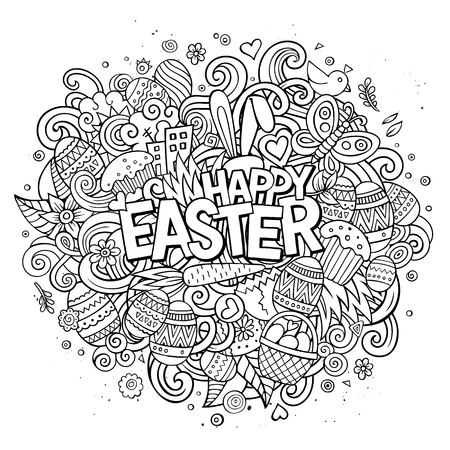 separated: Cartoon vector hand drawn Doodle Happy Easter illustration. Line art detailed design background with objects and symbols. All objects are separated