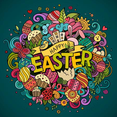 Cartoon vector hand getrokken Doodle Happy Easter illustratie. Kleurrijk gedetailleerd ontwerp achtergrond met objecten en symbolen. Alle objecten zijn gescheiden
