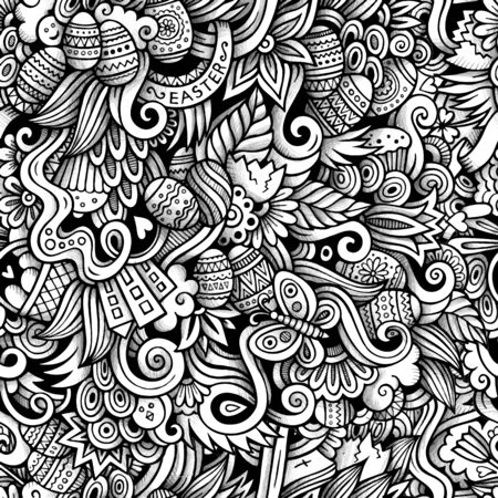 fresh flowers: Cartoon hand-drawn doodles on the subject of Easter theme seamless pattern. Line art trace detailed, with lots of objects vector background Illustration