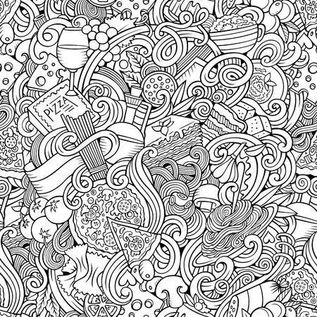 イタリア料理テーマのシームレスなパターンをテーマに手描き漫画がいたずら書き。詳細は、オブジェクトのベクトルの背景の多くのライン アート