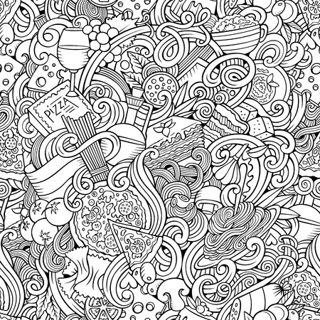 Cartoon hand-drawn doodles on the subject of Italian cuisine theme seamless pattern. Line art detailed, with lots of objects vector background Vectores