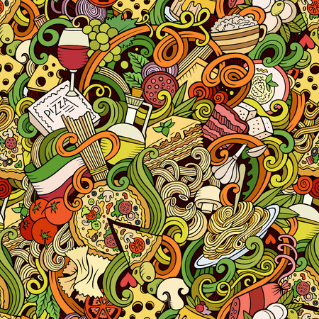 Cartoon hand-drawn doodles on the subject of Italian cuisine theme seamless pattern. Colorful detailed, with lots of objects vector background