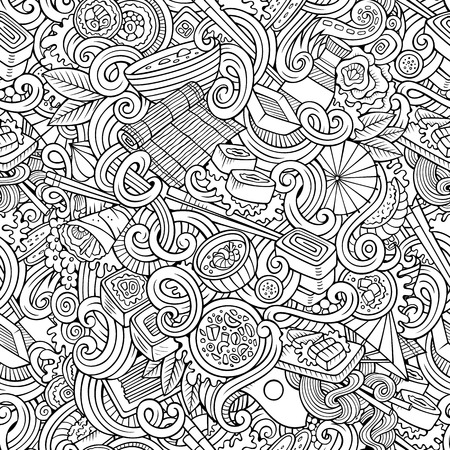 japanese cuisine: Cartoon hand-drawn doodles on the subject of japanese cuisine theme seamless pattern. Line art detailed, with lots of objects vector background
