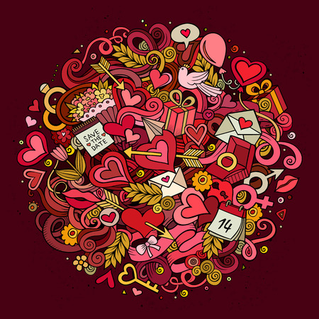 design objects: Cartoon vector hand drawn Doodle Love illustration. Colorful detailed design background with objects and symbols. All objects are separated Illustration