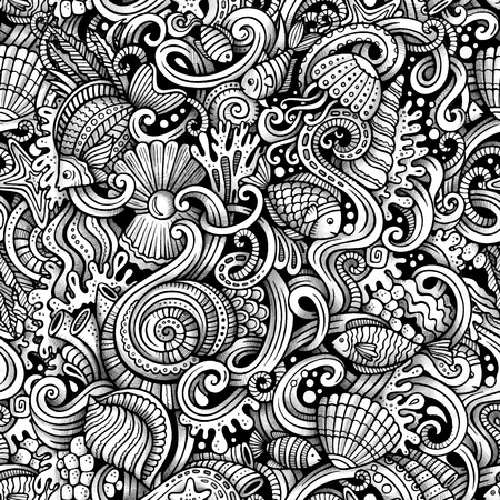 fauna: Cartoon hand-drawn doodles on the subject of under water life theme seamless pattern. Trace line art detailed, with lots of objects vector background