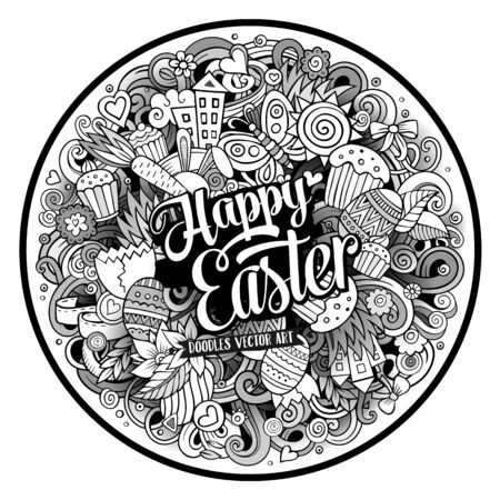design objects: Cartoon vector hand drawn Doodle Happy Easter round design. Line art detailed illustration with objects and symbols. All objects are separated