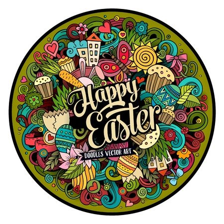separated: Cartoon vector hand drawn Doodle Happy Easter round design. Colorful detailed illustration with objects and symbols. All objects are separated
