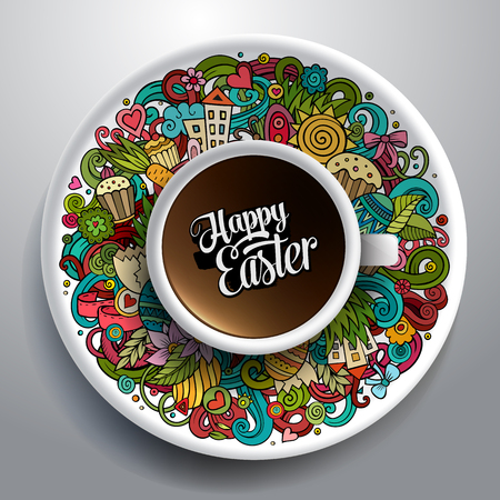 Vector illustration with a Cup of coffee with hand drawn Easter doodles on a saucer Ilustração