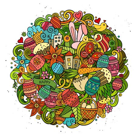 separated: Cartoon vector hand drawn Doodle Happy Easter illustration. Colorful round detailed design background with objects and symbols. All objects are separated Illustration