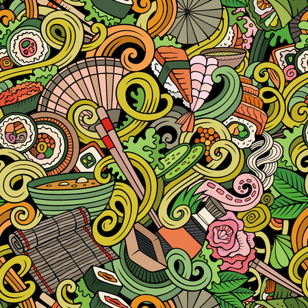 japanese cuisine: Cartoon hand-drawn doodles japanese cuisine seamless pattern. Colorful detailed, with lots of objects vector background