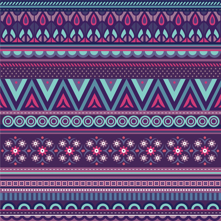 bohemia: Geometric vector various strips motifs in different color background