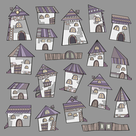 lodge: Cartoon vector fairy tale drawing houses. Series separate lodge. Illustration