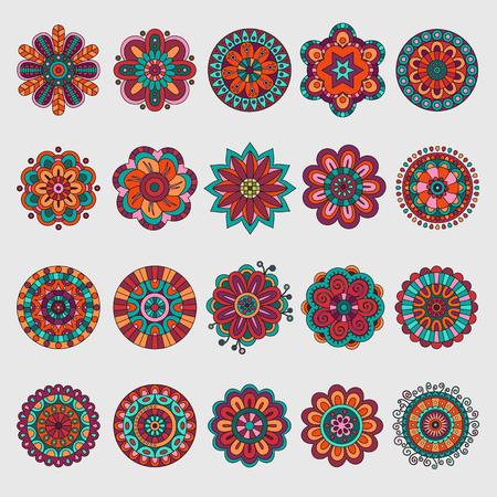 Set of decorative vector floral design elements