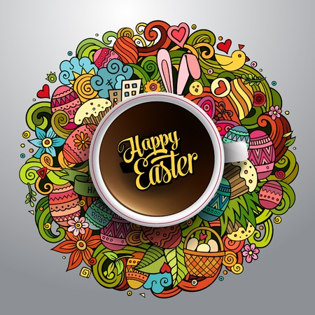 Vector illustration with a Cup of coffee with hand drawn Easter doodles on background
