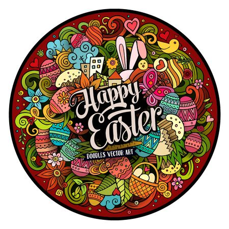 design objects: Cartoon vector hand drawn Doodle Happy Easter round design. Colorful detailed illustration with objects and symbols. All objects are separated