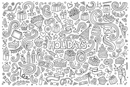 Line art vector hand drawn Doodle cartoon set of holidays objects and symbols