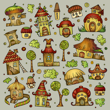 cottage: Set of color abstract fairy tale cartoon vector houses Illustration
