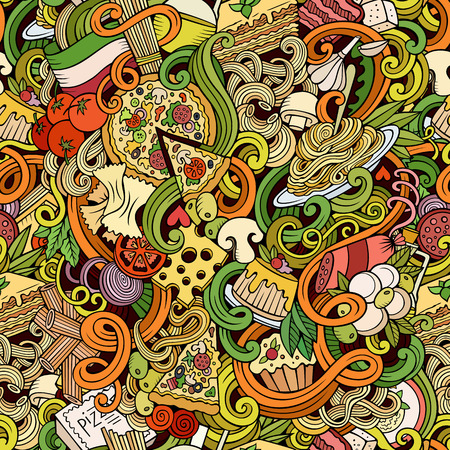 Cartoon hand-drawn doodles Italian cuisine seamless pattern. Colorful detailed, with lots of objects vector background