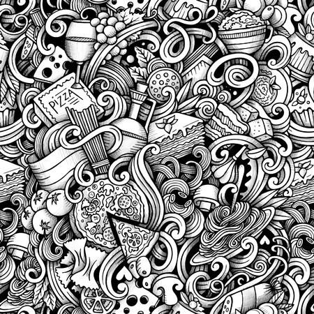 comida italiana: Mano de la historieta dibuja garabatos de comida italiana patrón transparente. arte línea de trazo detallado, con una gran cantidad de objetos de fondo vector