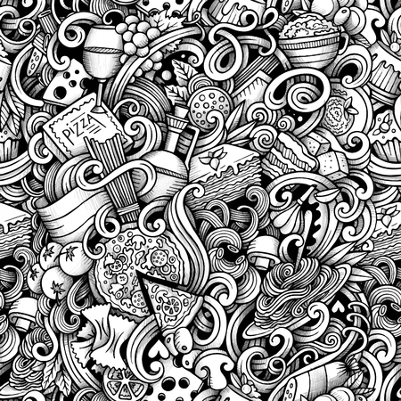 Cartoon hand drawn italian food doodles seamless pattern. Trace line art detailed, with lots of objects vector background