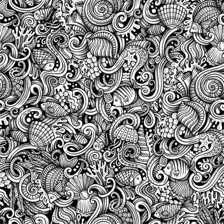 under water: Cartoon hand drawn under water life doodles seamless pattern. Trace line art detailed, with lots of objects vector background