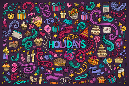 cartoon present: Colorful  vector hand drawn Doodle cartoon set of holidays objects and symbols