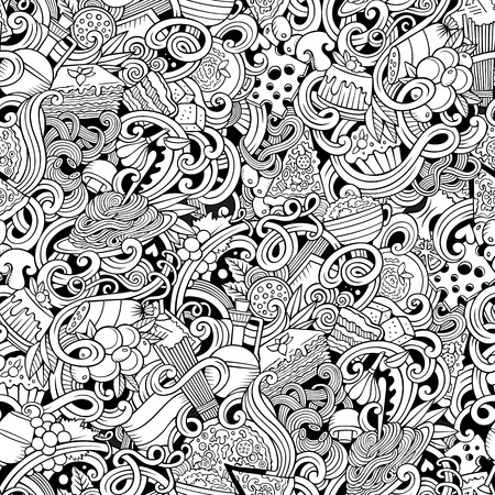 italian culture: Cartoon hand-drawn doodles Italian cuisine seamless pattern. Line art detailed, with lots of objects vector background