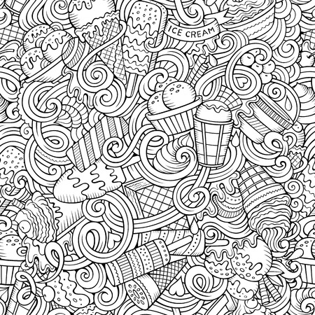 Cartoon hand-drawn ice cream doodles seamless pattern. Line art detailed, with lots of objects vector background
