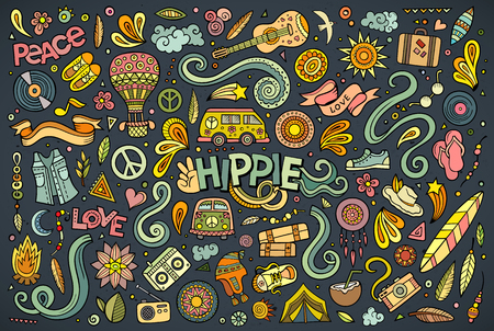 Colorful vector hand drawn Doodle cartoon set of hippie objects and symbols