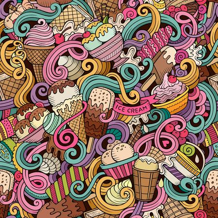 漫画手描きアイス クリームは、シームレスなパターンをいたずら書き。詳細は、オブジェクトのベクトルの背景の多くのカラフルな  イラスト・ベクター素材