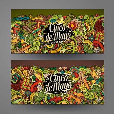 mexican party: Cartoon vector hand-drawn Doodle Cinco de Mayo cards. Horizontal banners design templates set
